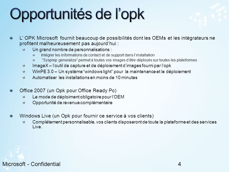 Opportunités de l'opk Microsoft - Confidential