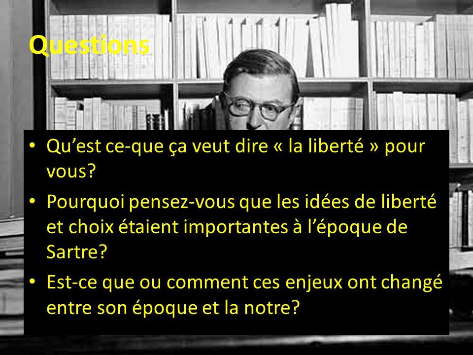 Questions Qu'est ce-que ça veut dire « la liberté » pour vous