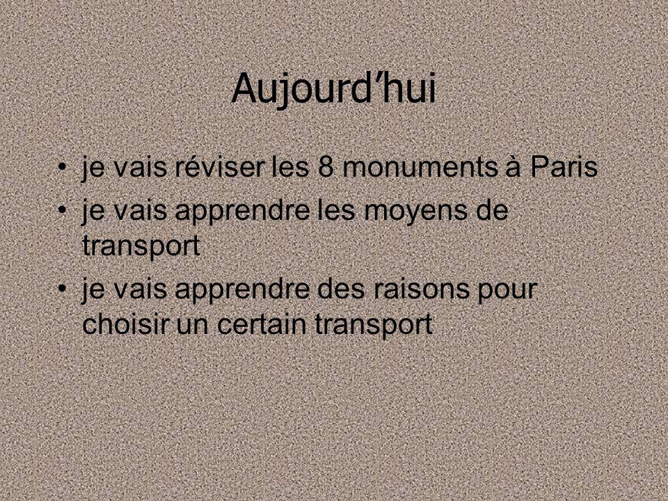 Aujourd'hui je vais réviser les 8 monuments à Paris