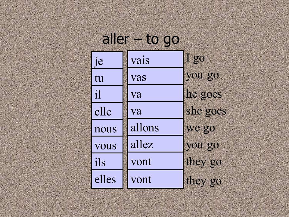 aller – to go I go je vais you go tu vas il va he goes elle va