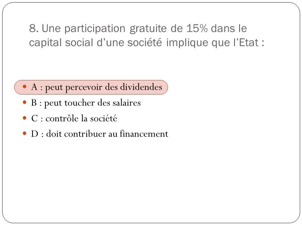 8. Une participation gratuite de 15% dans le capital social d'une société implique que l'Etat :