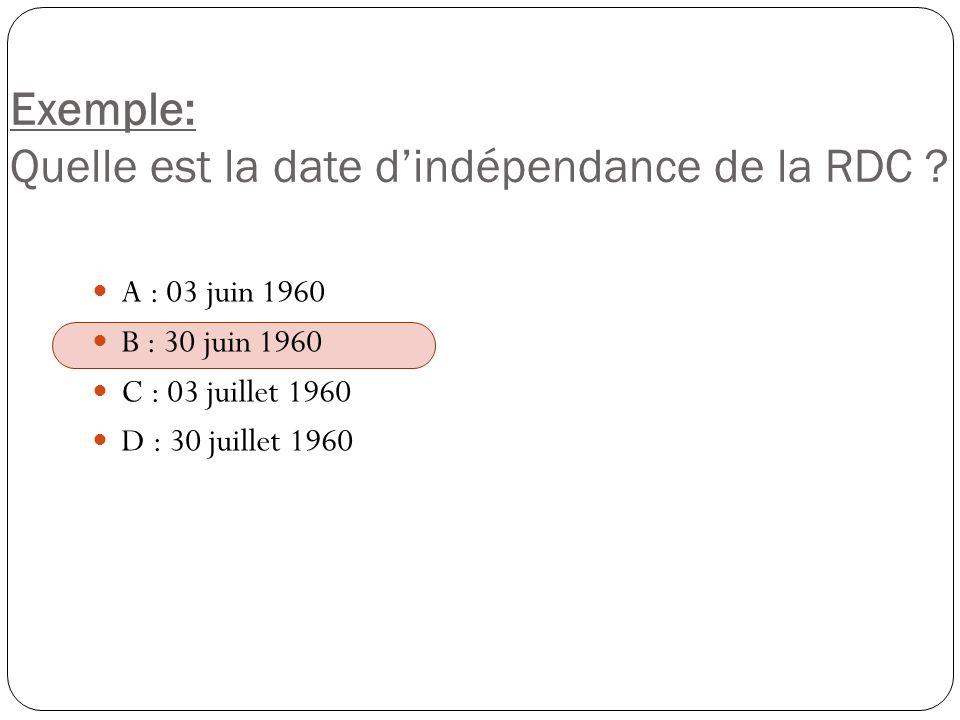 Exemple: Quelle est la date d'indépendance de la RDC