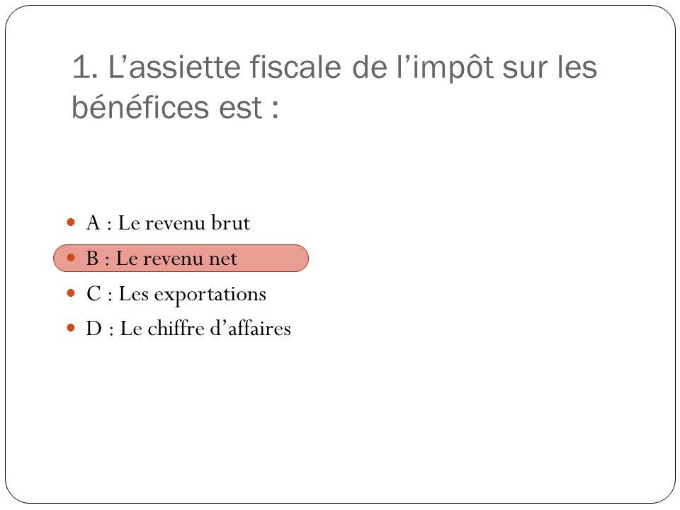 1. L'assiette fiscale de l'impôt sur les bénéfices est :