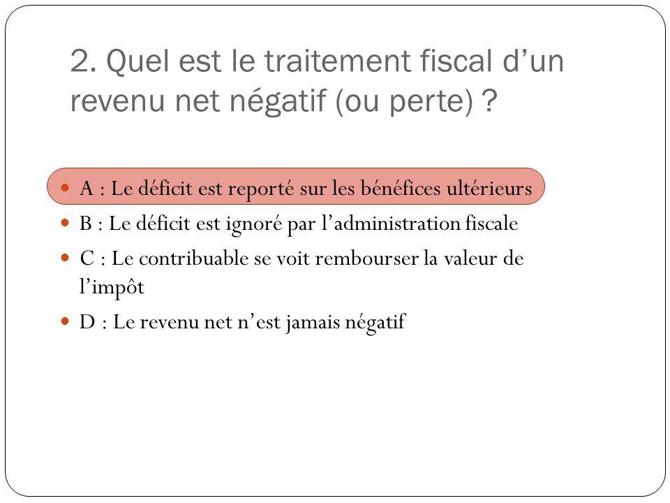 2. Quel est le traitement fiscal d'un revenu net négatif (ou perte)