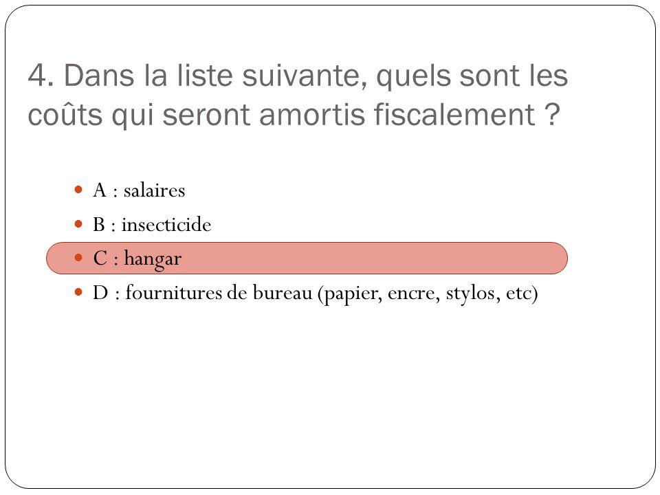4. Dans la liste suivante, quels sont les coûts qui seront amortis fiscalement
