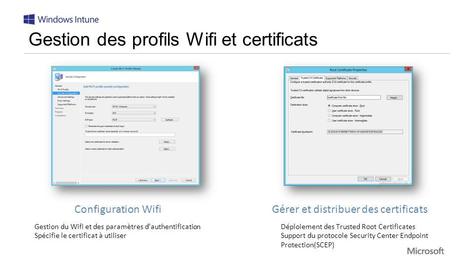 Gestion des profils Wifi et certificats