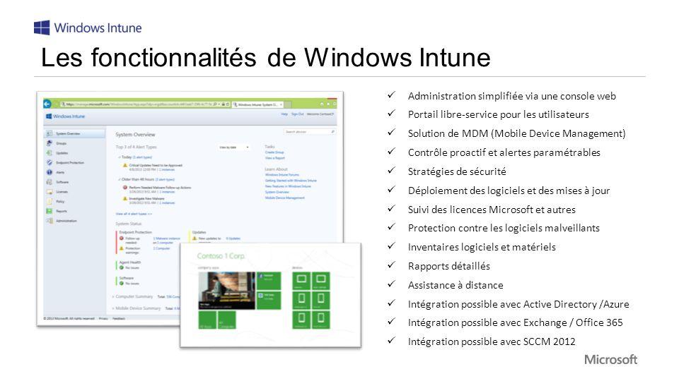 Les fonctionnalités de Windows Intune
