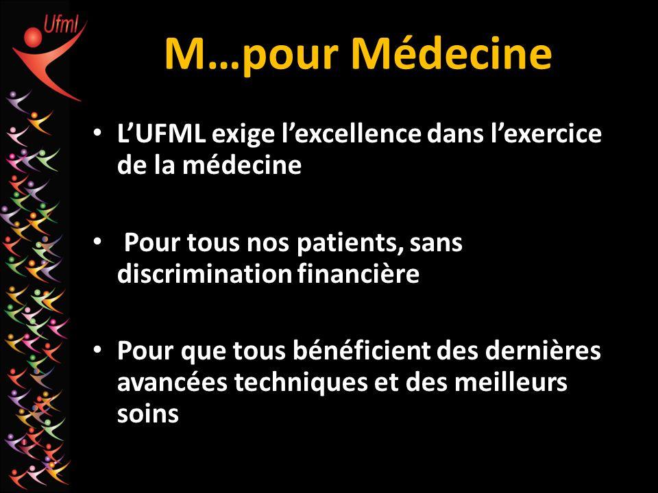 M…pour Médecine L'UFML exige l'excellence dans l'exercice de la médecine. Pour tous nos patients, sans discrimination financière.