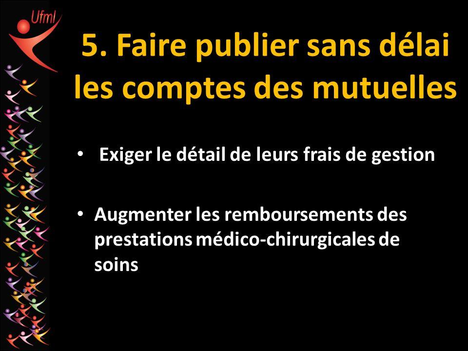5. Faire publier sans délai les comptes des mutuelles