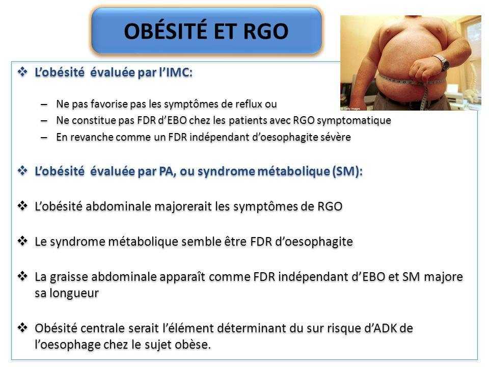 OBÉSITÉ ET RGO L'obésité évaluée par l'IMC: