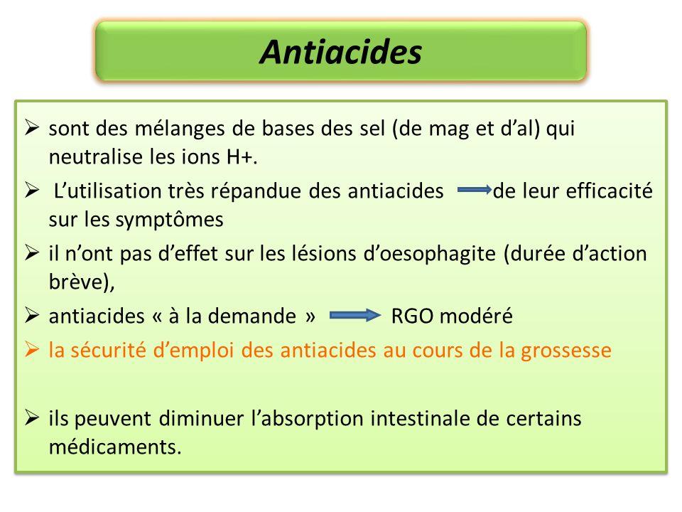 Antiacides sont des mélanges de bases des sel (de mag et d'al) qui neutralise les ions H+.