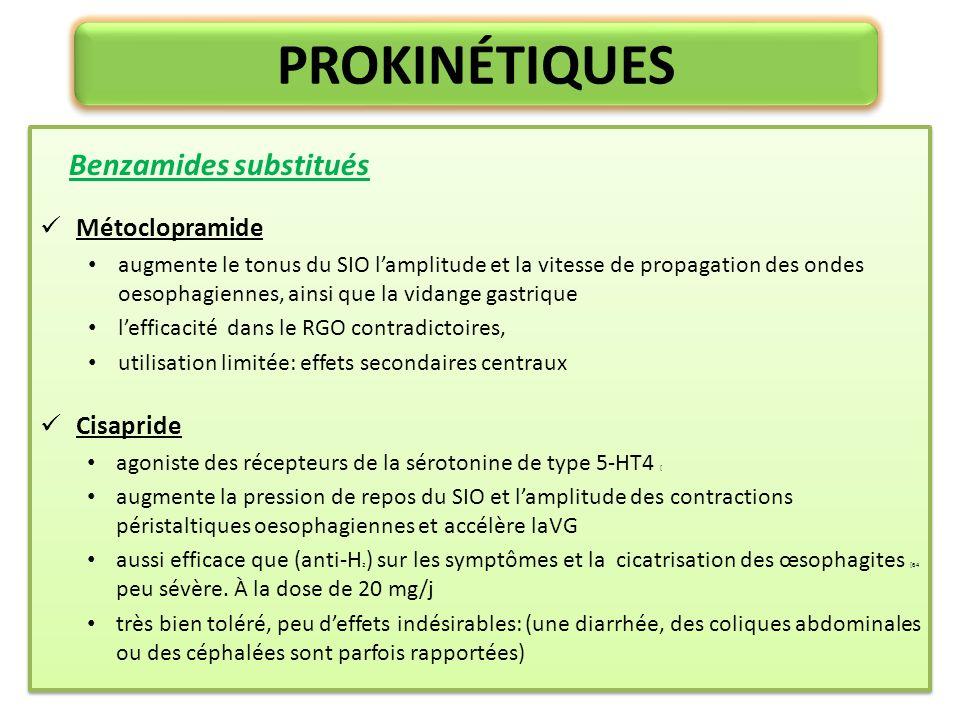 PROKINÉTIQUES Benzamides substitués Métoclopramide Cisapride