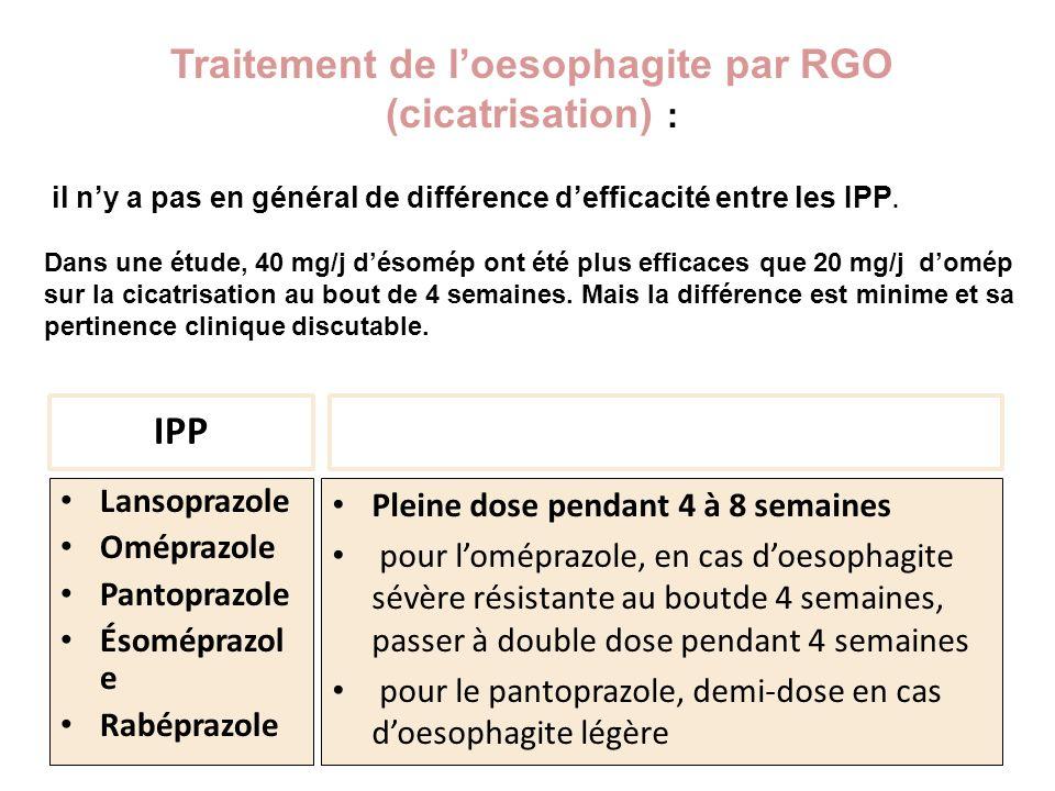 Traitement de l'oesophagite par RGO (cicatrisation) :