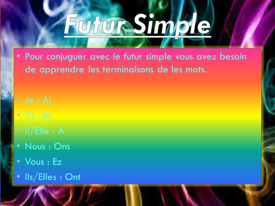 Futur Simple Pour conjuguer avec le futur simple vous avez besoin de apprendre les terminaisons de les mots.