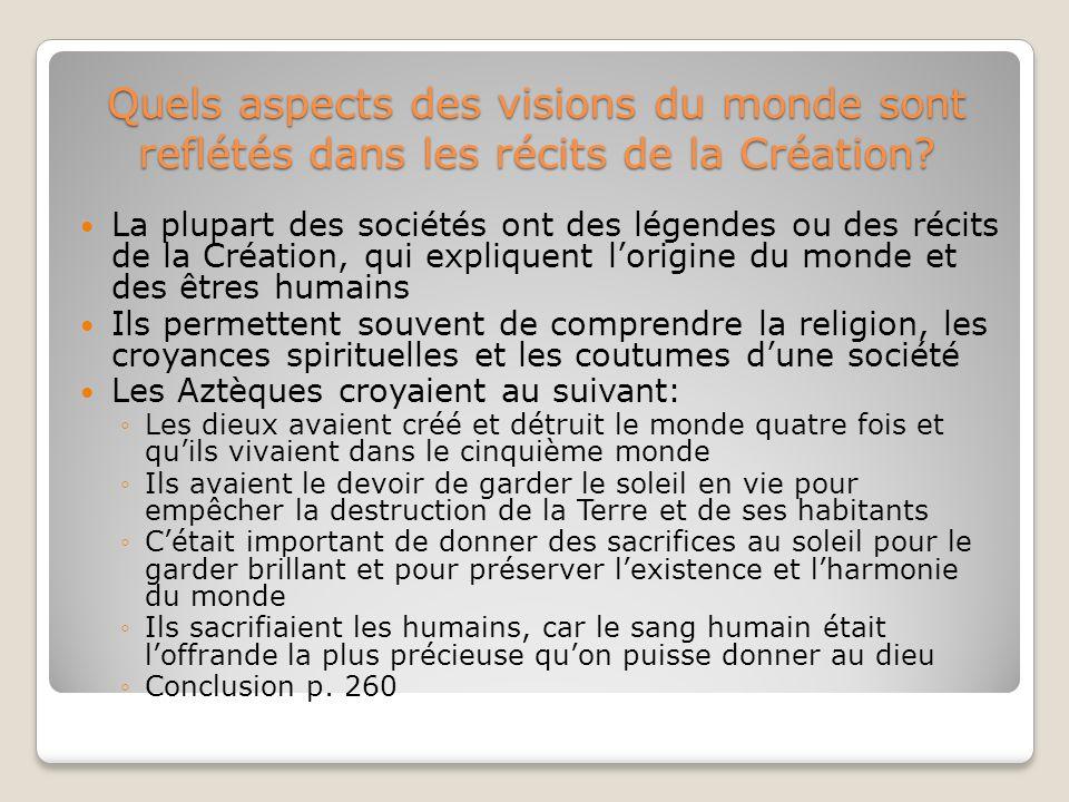 Quels aspects des visions du monde sont reflétés dans les récits de la Création