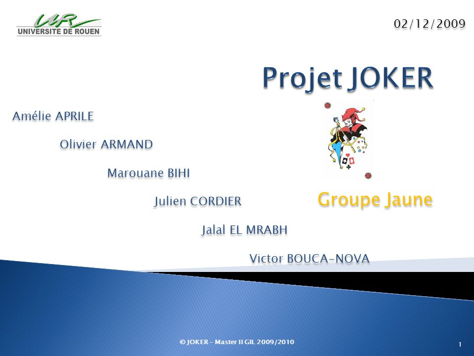 Projet JOKER Groupe Jaune 02/12/2009 Amélie APRILE Olivier ARMAND