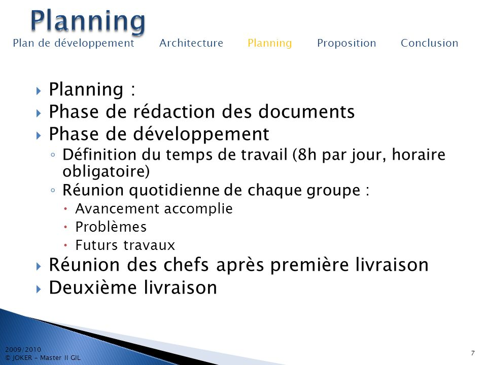 Planning Planning : Phase de rédaction des documents