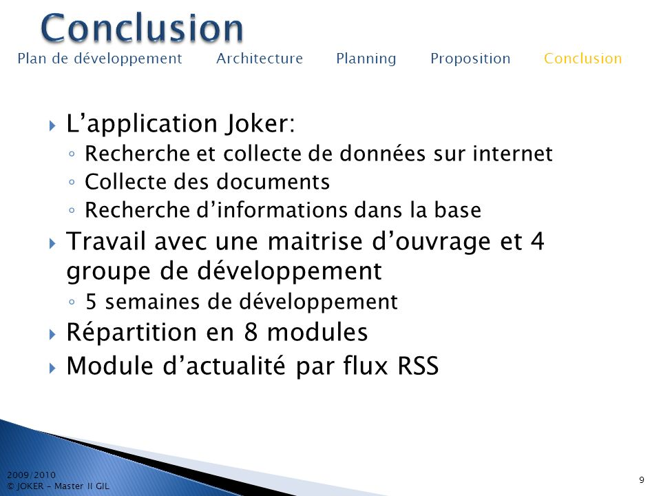 Conclusion L'application Joker: