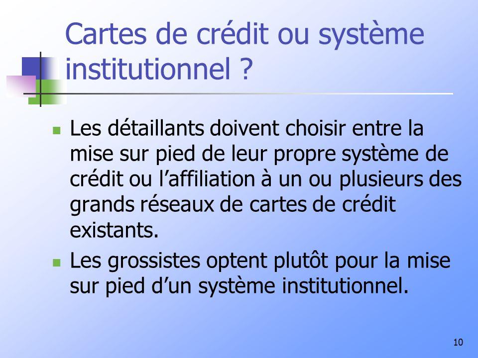 Cartes de crédit ou système institutionnel