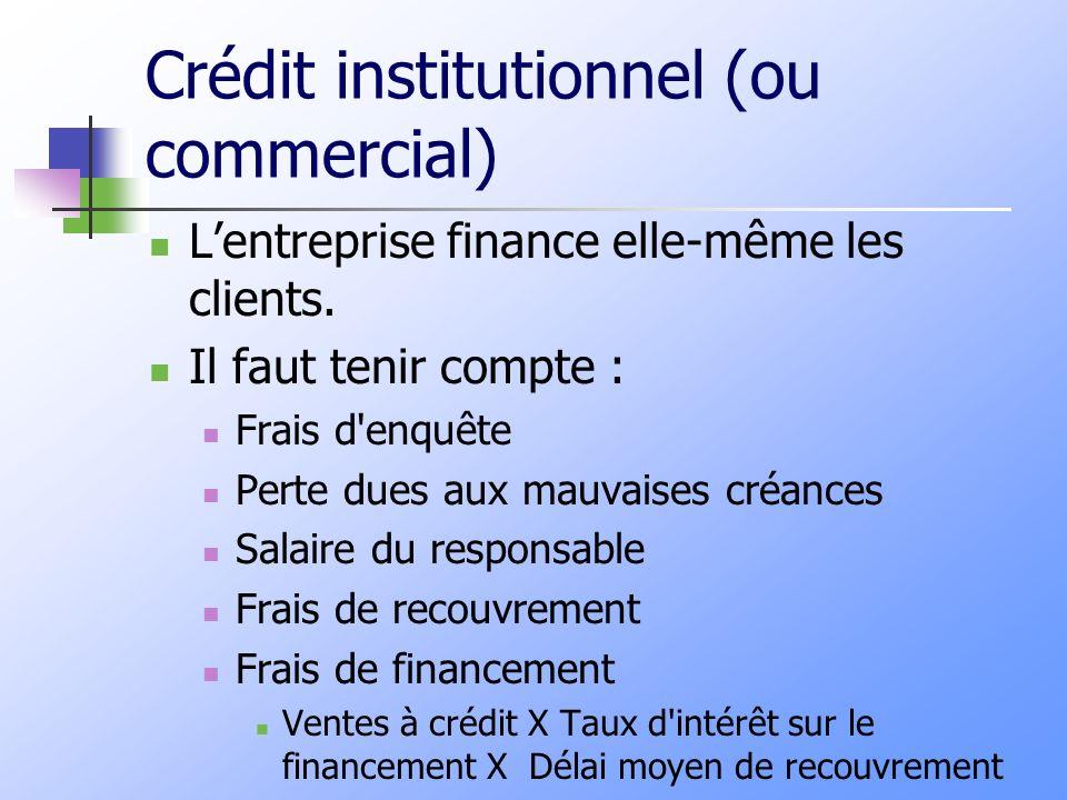 Crédit institutionnel (ou commercial)