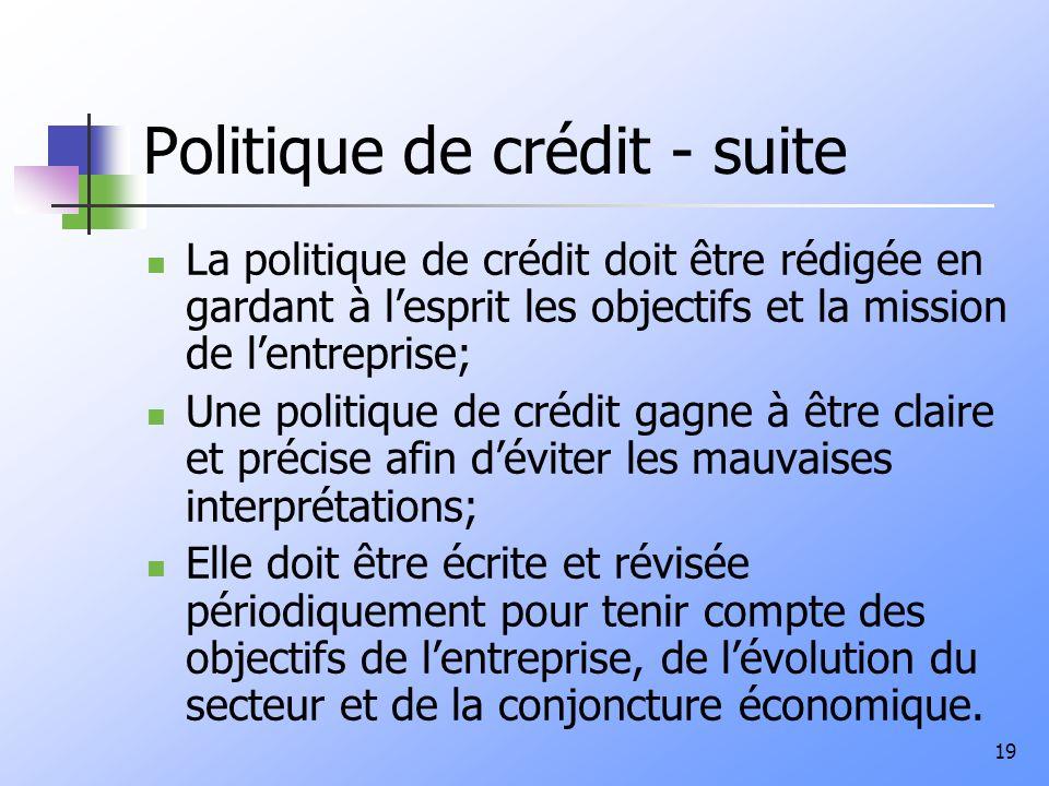 Politique de crédit - suite