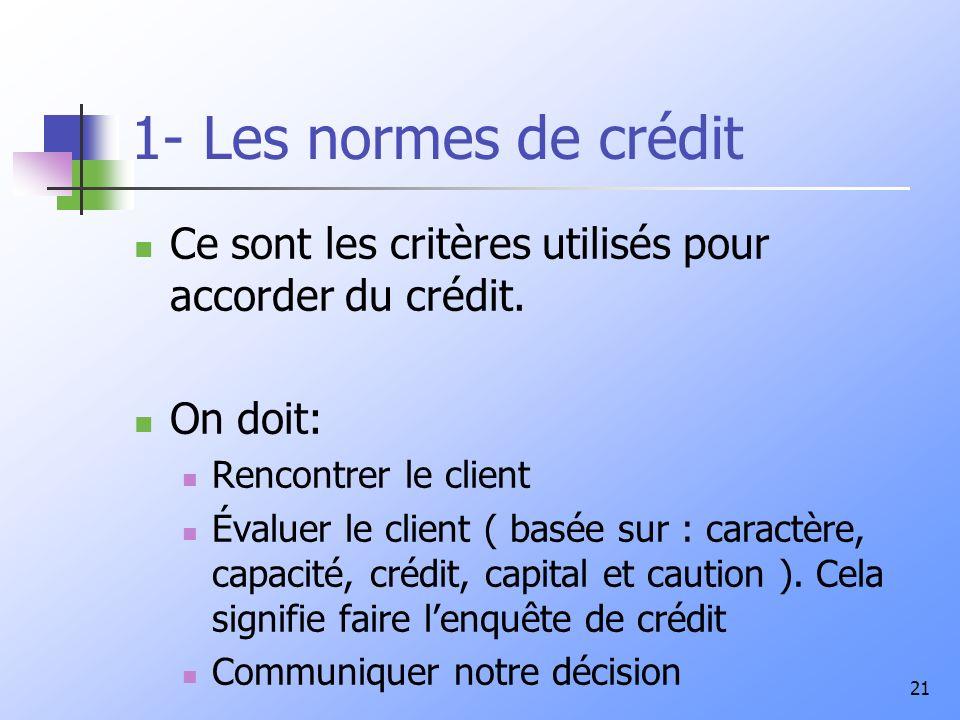 1- Les normes de crédit Ce sont les critères utilisés pour accorder du crédit. On doit: Rencontrer le client.