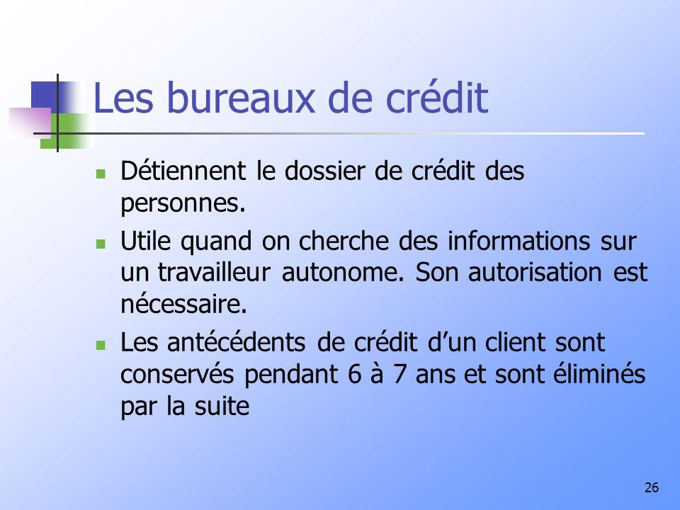 Les bureaux de crédit Détiennent le dossier de crédit des personnes.