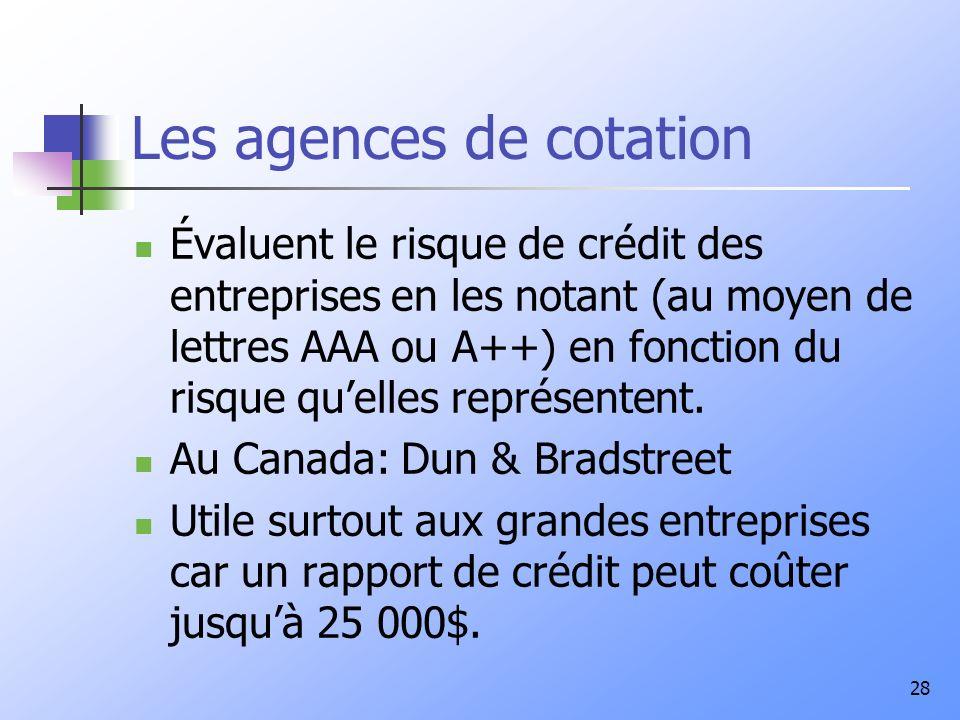 Les agences de cotation