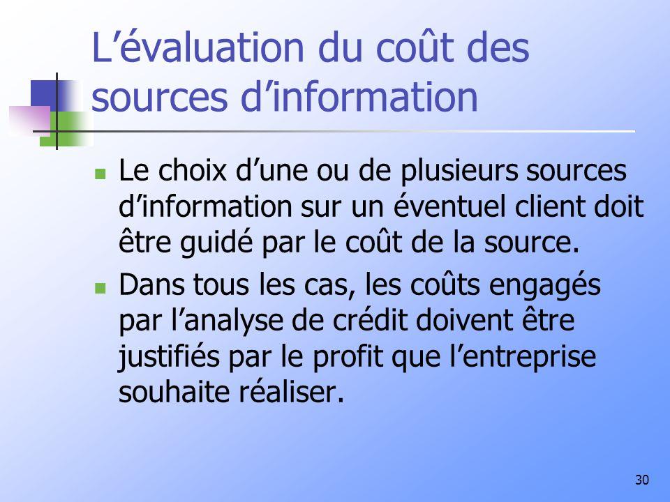 L'évaluation du coût des sources d'information