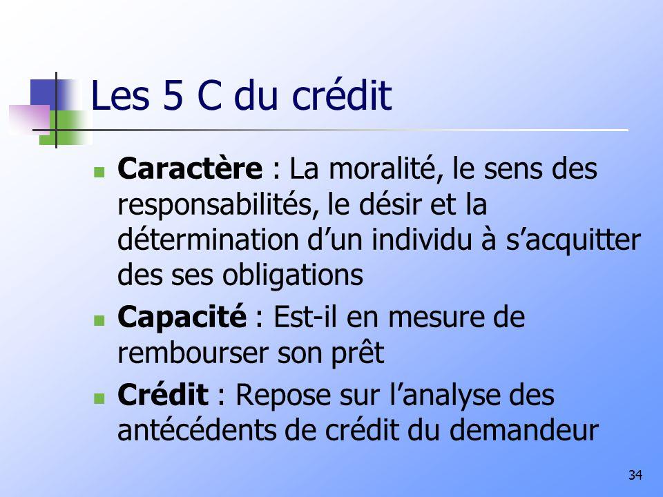 Les 5 C du crédit Caractère : La moralité, le sens des responsabilités, le désir et la détermination d'un individu à s'acquitter des ses obligations.