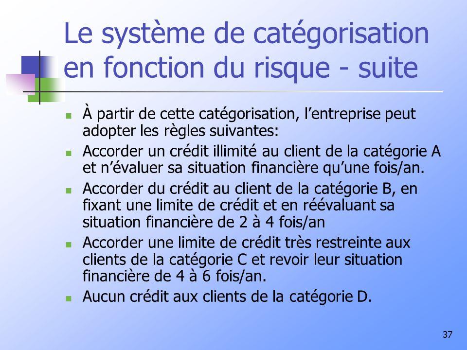 Le système de catégorisation en fonction du risque - suite