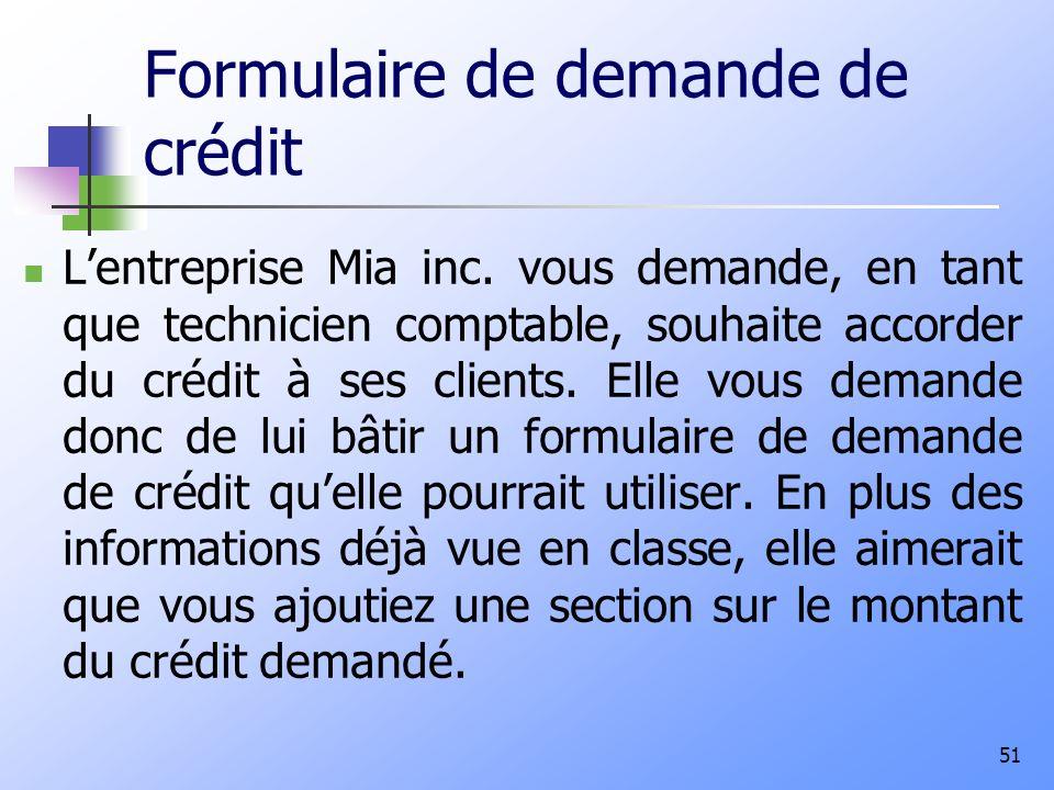 Formulaire de demande de crédit