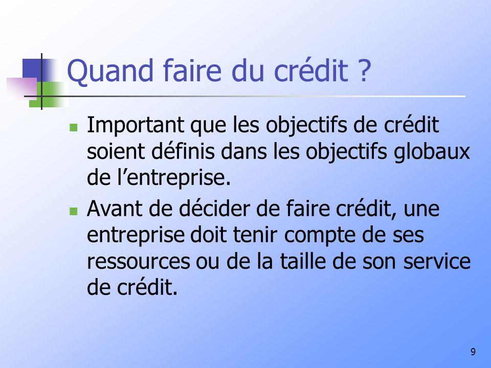 Quand faire du crédit Important que les objectifs de crédit soient définis dans les objectifs globaux de l'entreprise.