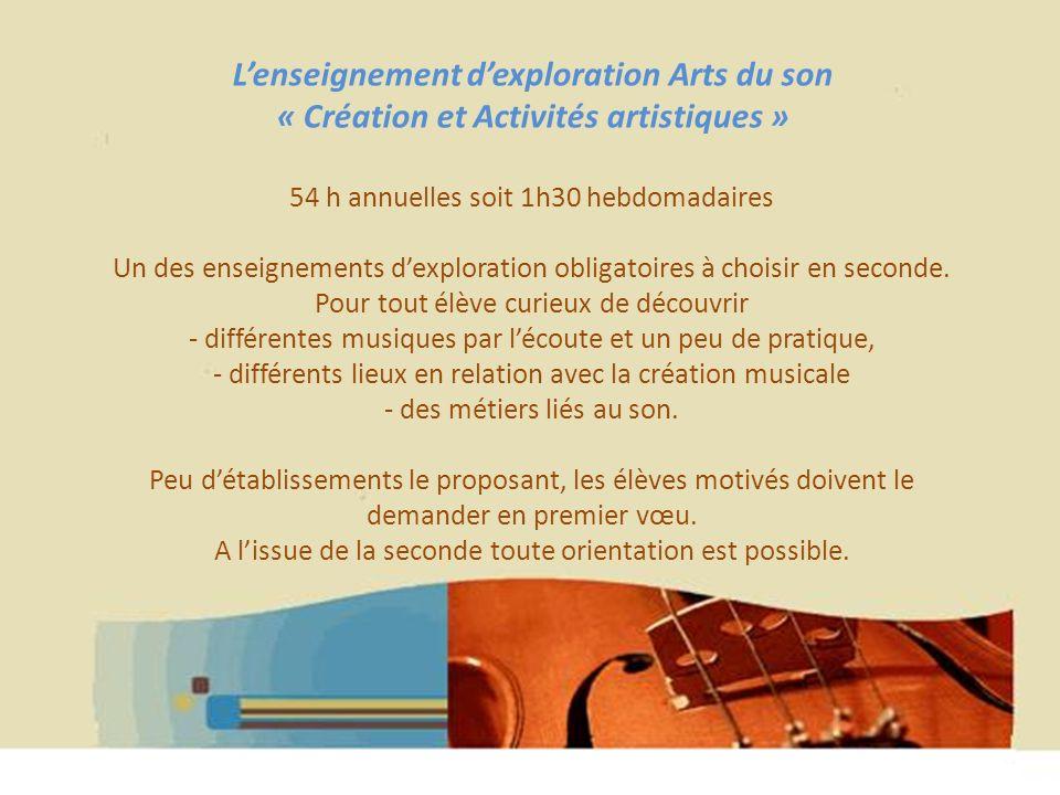 L'enseignement d'exploration Arts du son