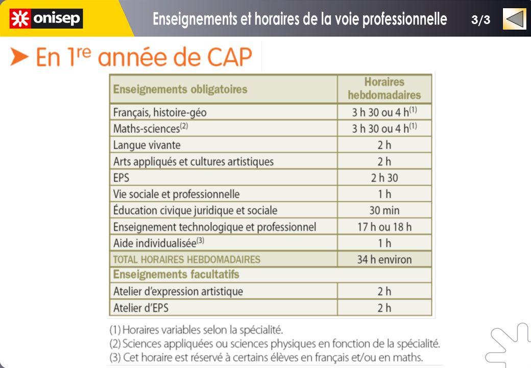 Enseignements et horaires de la voie professionnelle