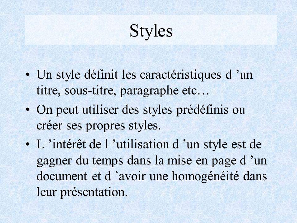 Styles Un style définit les caractéristiques d 'un titre, sous-titre, paragraphe etc…