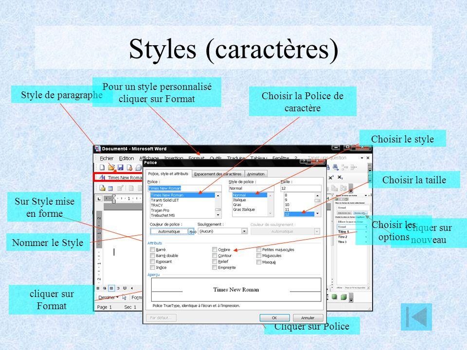 Styles (caractères) Pour un style personnalisé cliquer sur Format