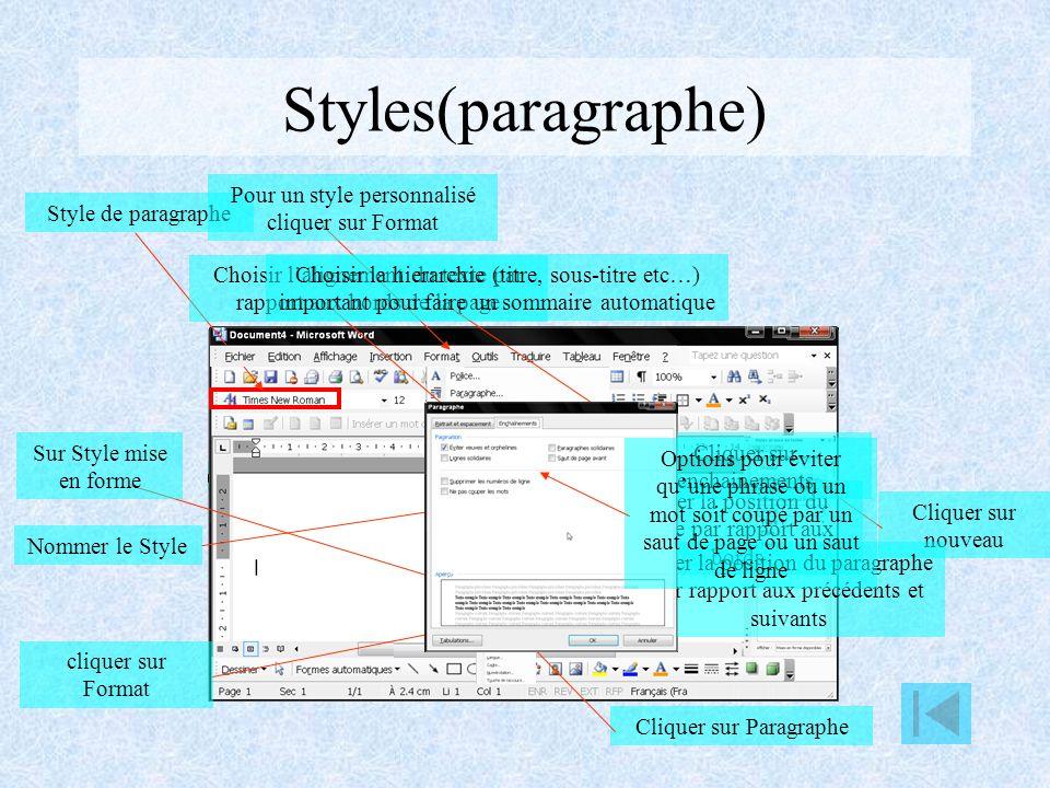 Styles(paragraphe) Pour un style personnalisé cliquer sur Format