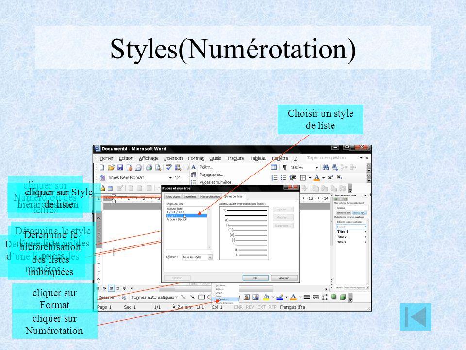 Styles(Numérotation)