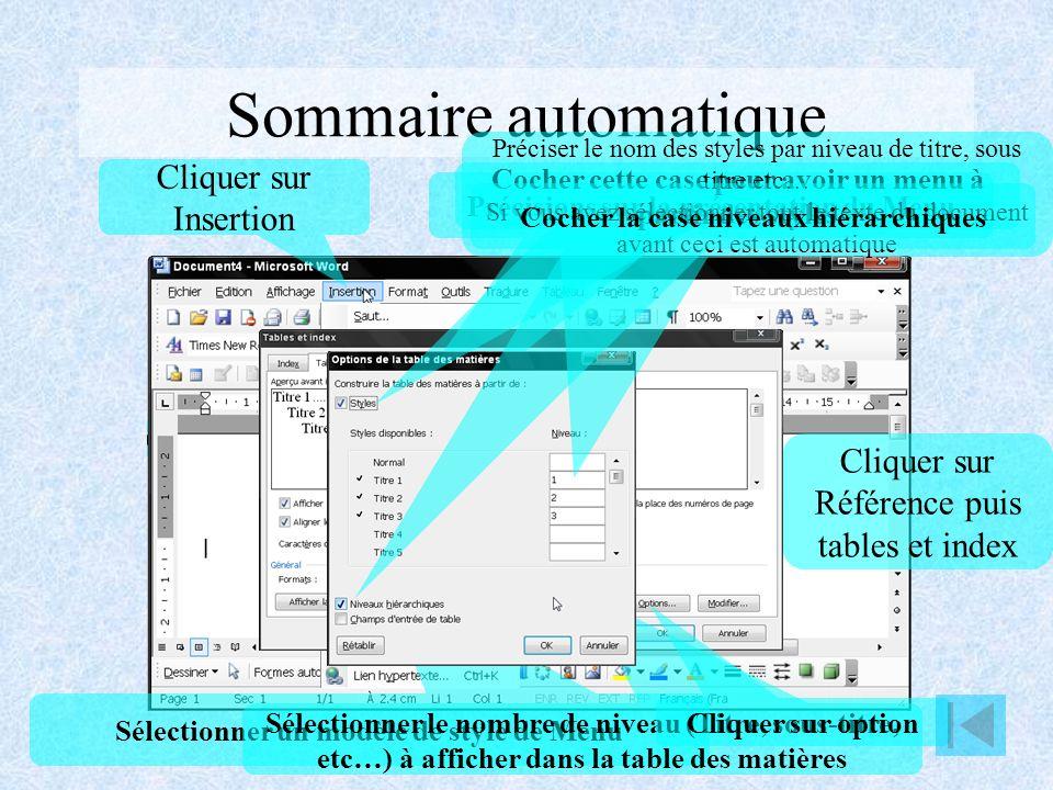 Sommaire automatique Cliquer sur Insertion