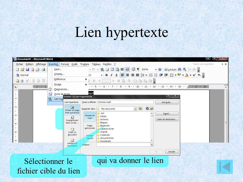 Lien hypertexte Cliquer sur Lien hypertexte
