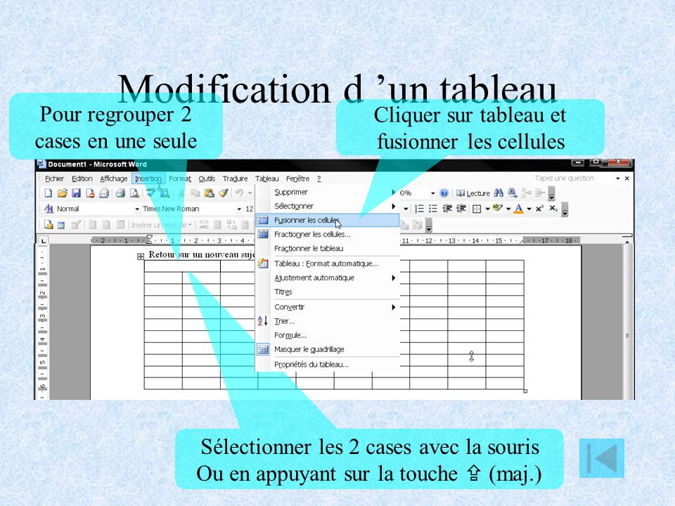 Modification d 'un tableau