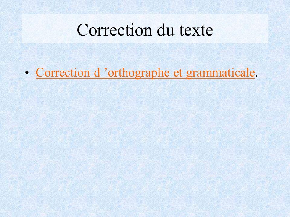 Correction du texte Correction d 'orthographe et grammaticale.