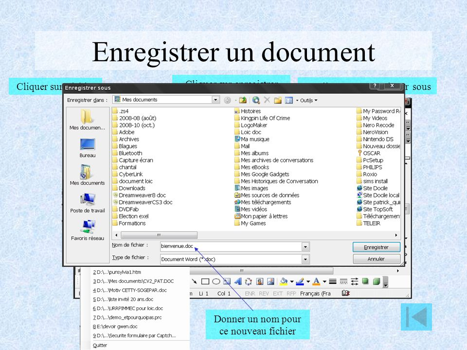 Enregistrer un document