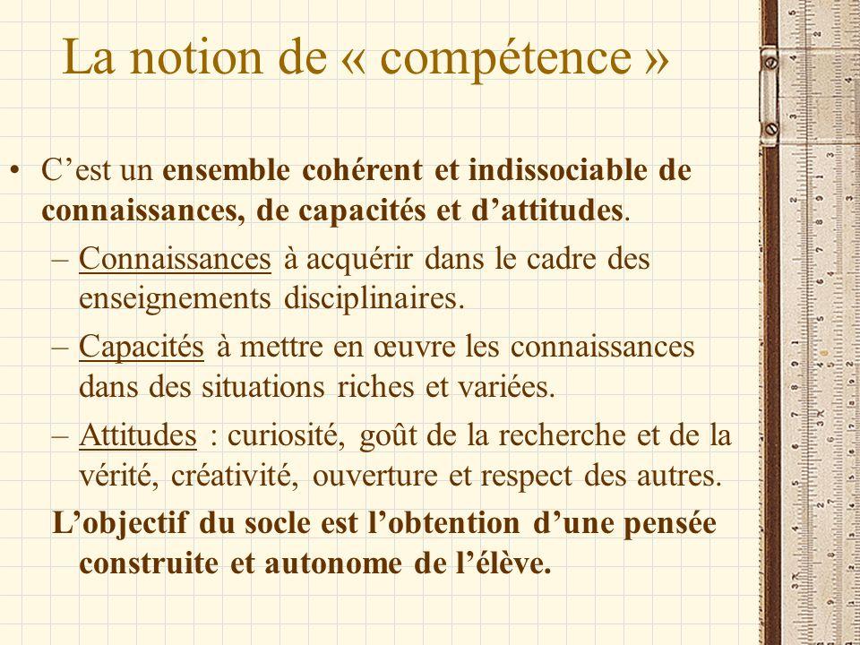 La notion de « compétence »