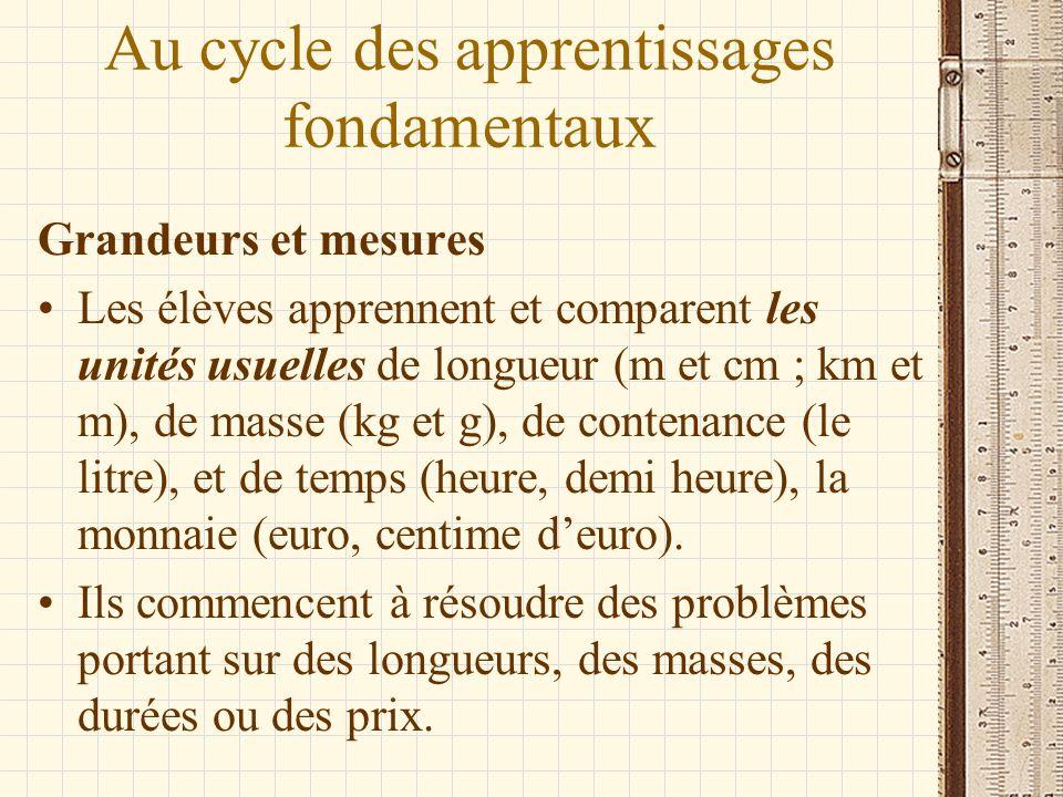 Au cycle des apprentissages fondamentaux