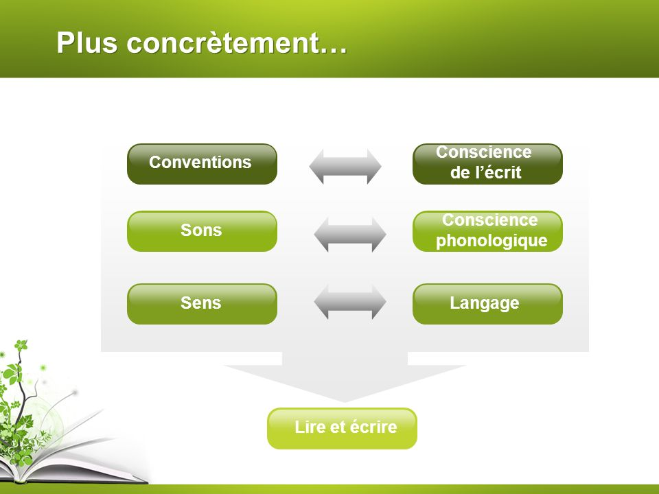 Plus concrètement… Conscience de l'écrit Conventions Conscience
