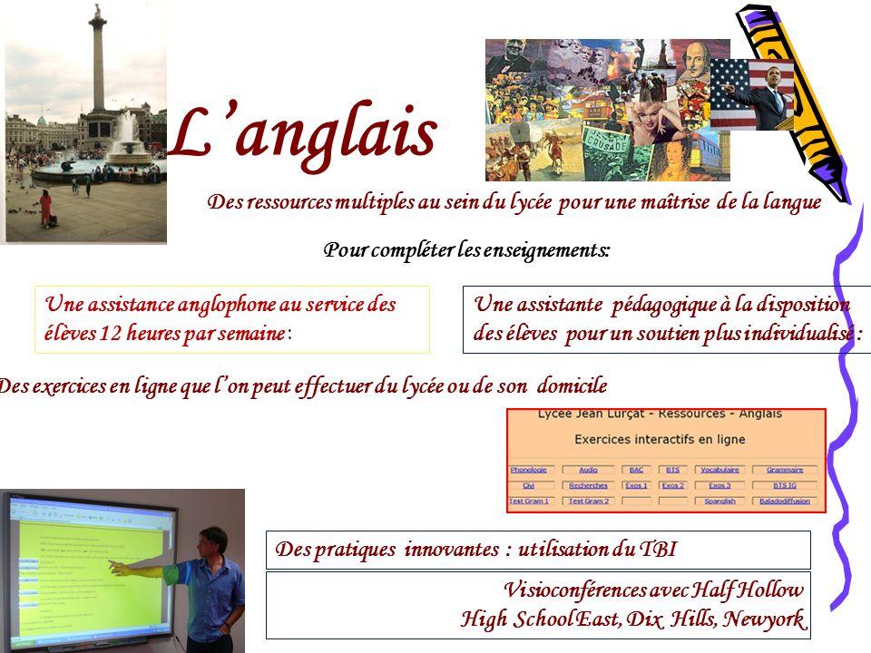 L'anglais Des ressources multiples au sein du lycée pour une maîtrise de la langue. Pour compléter les enseignements: