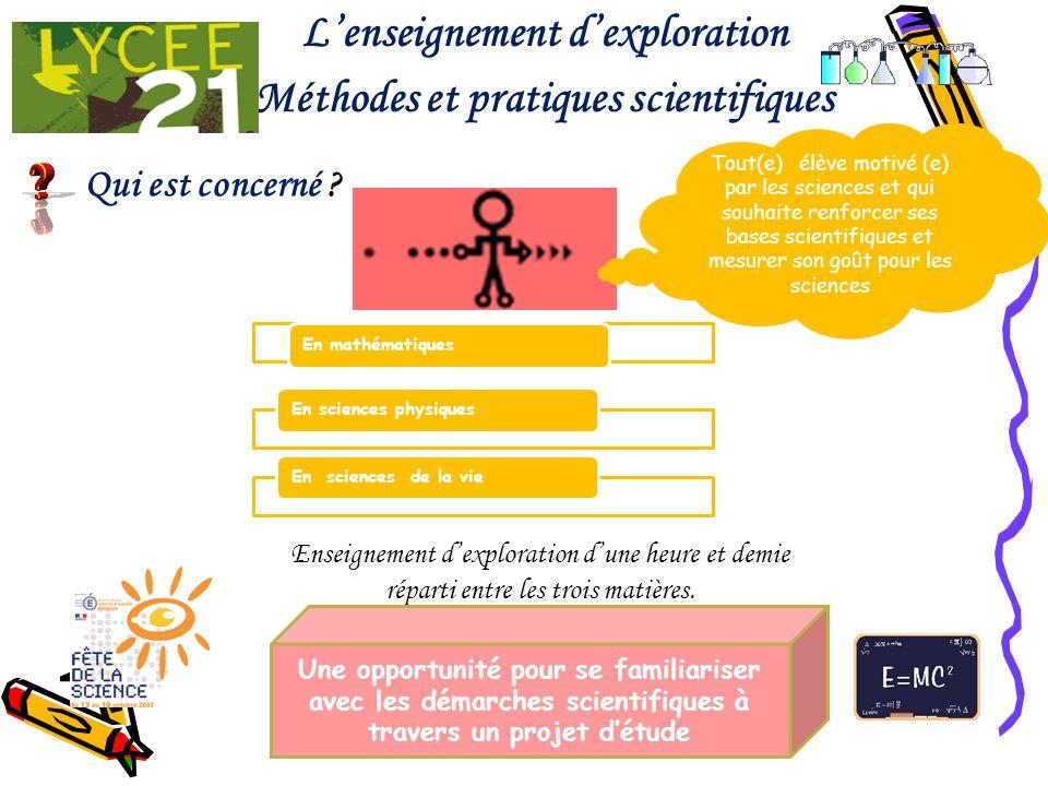 L'enseignement d'exploration Méthodes et pratiques scientifiques
