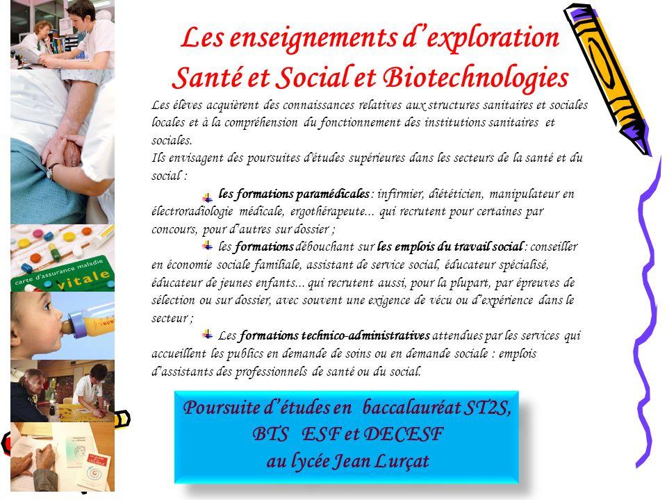 Les enseignements d'exploration Santé et Social et Biotechnologies